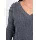 Wełniany Sweter z dekoltem V szary