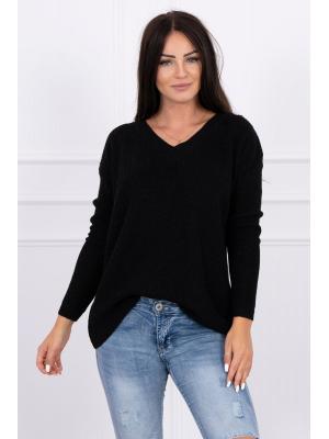 Wełniany Sweter z dekoltem V czarny