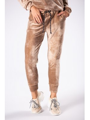 dresowe spodnie z weluru beżowy