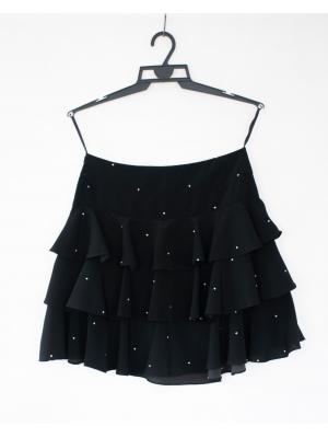 SPÓDNICA czarna w groszki elegancka