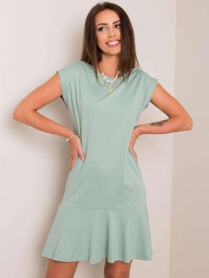 Miętowa sukienka z falbanką