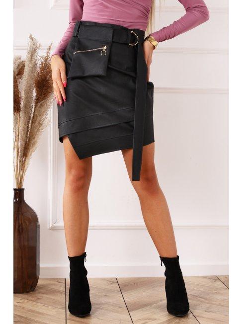Czarna spódnica mini z eko skóry o nakrapianej strukturze